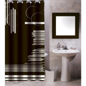 MSV 140808 Polyester shower curtain polypropylene plastic black chart 70 x 78 x 0 x inch (180 0.1 x 200 cm) - 12 curtain rings included