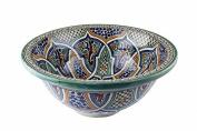 Fes / Alcazar Ceramic Hand painted Moroccan Bathroom Sink Basin - Alcazar Round, Painted inside out - Di 40 cam H 16 cm