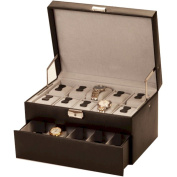 Mele and Co Large Lockable Black Watch Box with Auto Tray