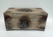 Unusual Hand Carved Elephant Trunk- Elephant carved Storage chest Trunk - Medium