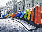 Oil Painting on Canvas - Old London Colour Domino Telephone Boxes - Superb quality and craftsmanship, hand made wall art