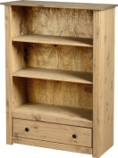 Panama 1 Drawer Bookcase - Solid Pine with a Natural Wax