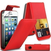 High Quality Apple iPhone 5C Red Flip Wallet PU Leather Case Cover with Two Card slots For Apple iPhone 5C by G4GADGET®