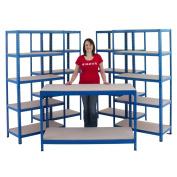 Garage Or Workshop Shelving Storage Starter Kit Including 4 Bays & 1 Workbench
