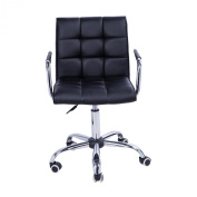 Homcom PU Leather Height Adjustable Office Computer Chair 360 Degree Swivel Chair with Chrome Base and Castor Wheels Bar Kitchen Stool with Arms