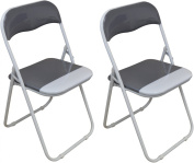 Harbour Housewares Cool Grey / White Padded, Folding, Desk Chair - Pack of 2