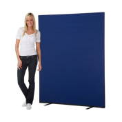 Office Screen / Partition 1500mm W x 1800mm H, woolmix fabric Blue Portrait