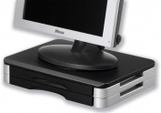 Compucessory Wood Platform Stand with Rotary Plate for Monitor or Printer - Black/Silver