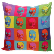 Ted Smith Printed Cushion Cover - Pop Art Skulls
