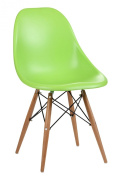 Premier Housewares ABS Chair with Wooden Legs - Set of 2 - Green