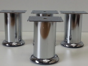 4 x FURNITURE FEET METAL FURNITURE LEGS IN CHROME FINISH FOR SOFAS, CHAIRS, STOOLS & CABINETS 115MM HIGH PRE- DRILLED