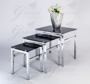 Modern Glass Nest of Tables Black 3 Lamp Side Coffee Table Set Living Room Furniture