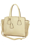 ICE (2512-3) Faux Leather Shopper Bag With Gold Eyelets Light Beige