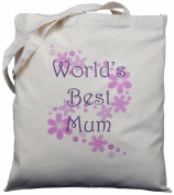 World's Best Mum - Natural Cotton Shoulder Bag - Mother's Day Gift