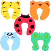 Accmart(TM) Cute Animal Door Stop Finger Pinch Safety Guard for Baby(Colour and Pattern Random) Pack of 5