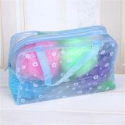 Lady's Floral Transparent Ventilate Net Make Up Case Cosmetics Pouch Bath Bags Blue