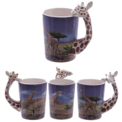 Ceramic Safari Printed Mug with Giraffe Head Handle - Cup Animal
