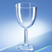 Set of 6 Unbreakable Reusable Polycarbonate Plastic Wine Glasses (250ml/ 8.5oz to rim) Ideal for home use, inside or outdoor, bbq's, camping, parties. Lowest priced polycarbonate wine glass without compromise on quality.