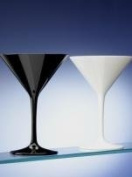 Set of 6 Unbreakable Polycarbonate Black Martini Cocktail Glasses