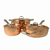 Le Chef 5-ply Copper 6 Piece Cookware Set with Copper Lid.