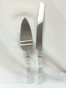 Silver Cake Knife & Server Set Design with Simulated Rhinestone for All Party Occasions