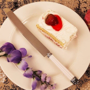 Pearl White Cake Knife Stainless Steel Party Supplies