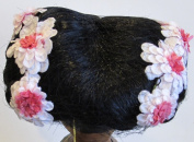 KEMPER Craft DOLL HAIR WIG Style JASMINE Fits SIZE 30cm & 33cm Colour BLACK Synthetic JAPAN Fibre HAIR w Braided Side Buns & PINK Flowers