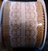 Burlap and Lace Wired Ribbon - 6.4cm Wide - 3m