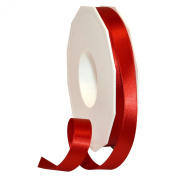 Morex Ribbon 08816/50-250 Double Face Satin Polyester Ribbon, 1.6cm by 50-Yard, Red