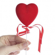 Group of 12 Festive Red Flocked Heart Picks with Matching Organza Ribbon Accents for Valentines, Birthdays and Special Occasions