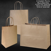 "20cm x 12cm x 25cm -10"" x 13cm x 13""-41cm x 15cm x 12"" - 50 Pcs Each - Brown Kraft Paper Bags, Shopping, Mechandise, Party, Gift Bags"