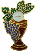 Chalice with Grapes and Wheat 2.5cm Gold Plate with Enamel First Communion Lapel Pin