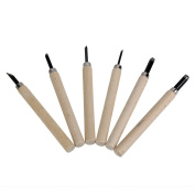 Foged Steel Wood Craft Graver Burin Carving Knives DIY Hand Woodcut Tools Pack of 6