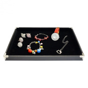 Black Jewellery Display Utility Case with Silver Decorative Corner, 35x24cm, for Retail Shop
