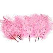 10pcs 25cm - 30cm Pink Ostrich Feathers Wedding Decorations Good Crafted DIY Ideas