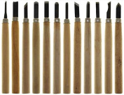 12 Piece Wood Carving Chisel Set with Stone 13cm
