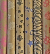 Printed Kraft Paper / Wrapping Paper, 80cm x 3m Rolls, Pack of 3, prints may vary