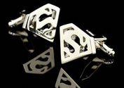 Silver Plated Superman Shield Cufflinks Super Hero Cufflinks Shirt Cufflinks Best Gift to Men