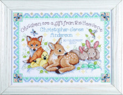Counted Cross Stitch, Woodland Baby Sampler, 30cm by 33cm