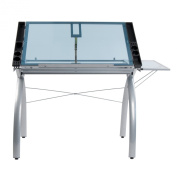 Studio Designs 10095 Futura Craft Station with Folding Shelf, Silver with Blue Glass