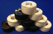 20 Prewound 90 Weight Black & White Thread Embroidery Bobbins Size A Class 15 Style 15J For Brother Baby Lock SA156