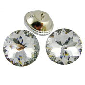 "1"" [25mm] Flower Crystal Upholstery Buttons with Metal Loop Base, 24pcs/pk"