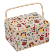 Hobby Gift Owl Design Sewing Box on Natural Large