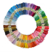 Tinksky 100 Skeins of 8M Multi-colour Soft Cotton Cross Stitch Embroidery Threads Floss Sewing Threads