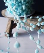 25 Yards Fuzzy Pom Pom Wired Trim Ribbon Lace - Aqua
