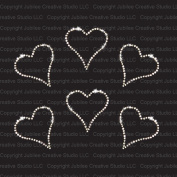 Set of 6 Small Clear Heart Iron On Rhinestone T-Shirt Transfers by Jubilee Rhinestones