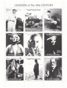 Legends of the 20th Century, 9 stamps featuring icons of the century such as Marilyn Monroe, Albert Einstein and Greta Garbo, issued by Kyrgyzstan in 2000, mint never hinged