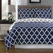 Blue and White Meridian Full / Queen 3-piece Duvet-Cover-Set, 100 % Egyptian Cotton 300 TC