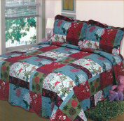 Fancy Collection 3pc Bedspread Bed Cover White blue green red floral print