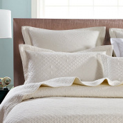 Saint Ivory Luxury Pure Cotton Quilted Standard Pillow Sham By Calla Angel, Ivory, Standard